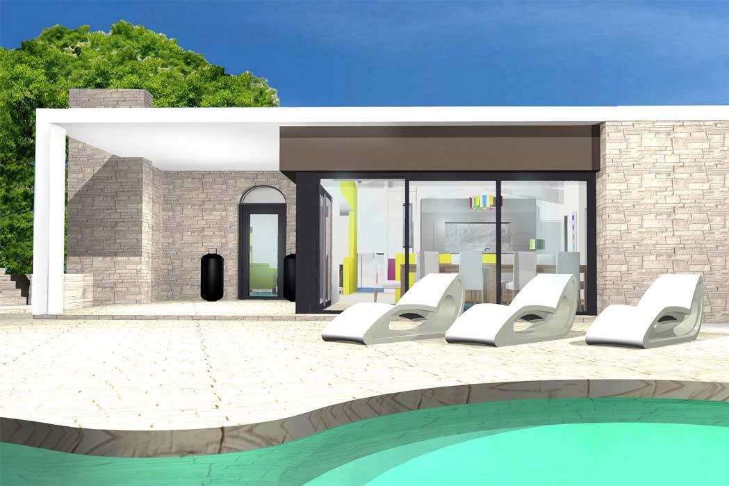 MS Architecture interieur Lyon - Vue 3D Aménagement de jardin pour particuliers