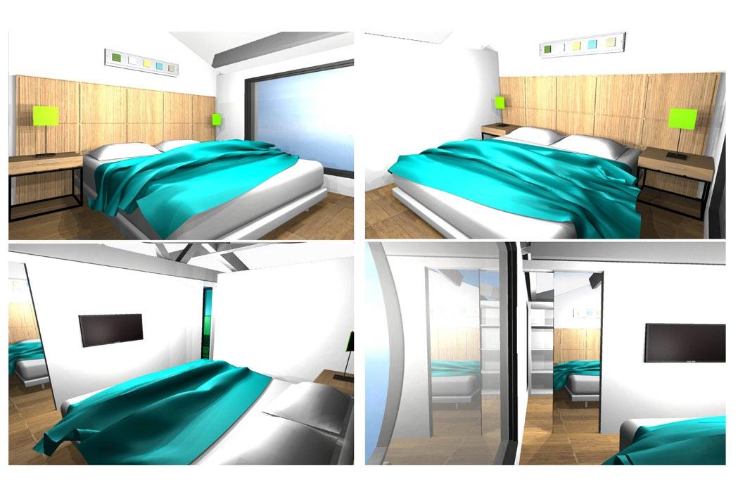 MS Architecture interieur Lyon - Vue 3D Aménagement interieur pour particuliers - Chambre parentale