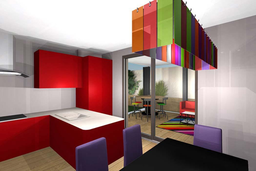 MS Architecture interieur Lyon - Vue 3D Aménagement interieur pour particuliers - Cuisine