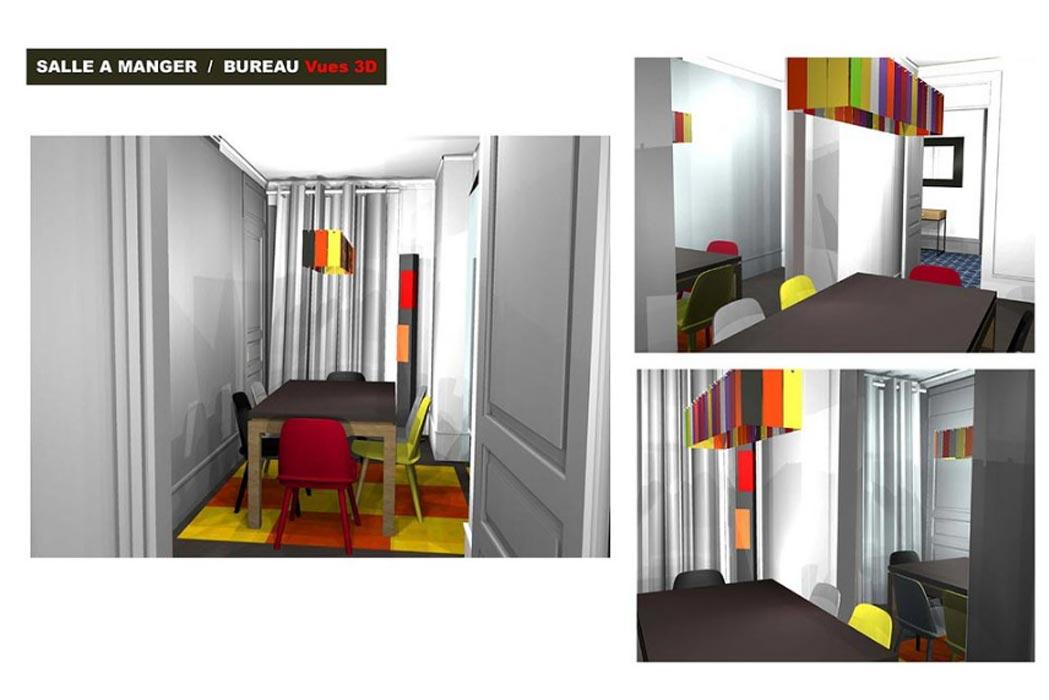 MS Architecture interieur Lyon - Vue 3D Aménagement interieur pour particuliers - Salle à manger / Bureau