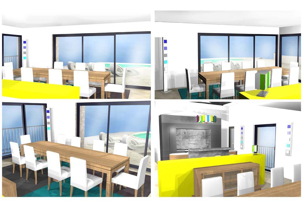 MS Architecture interieur Lyon - Vue 3D Aménagement interieur pour particuliers - Salon