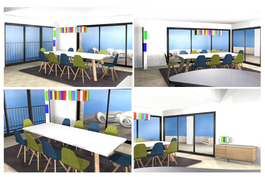 MS Architecture interieur Lyon - Vue 3D Aménagement interieur pour particuliers - Salle à manger