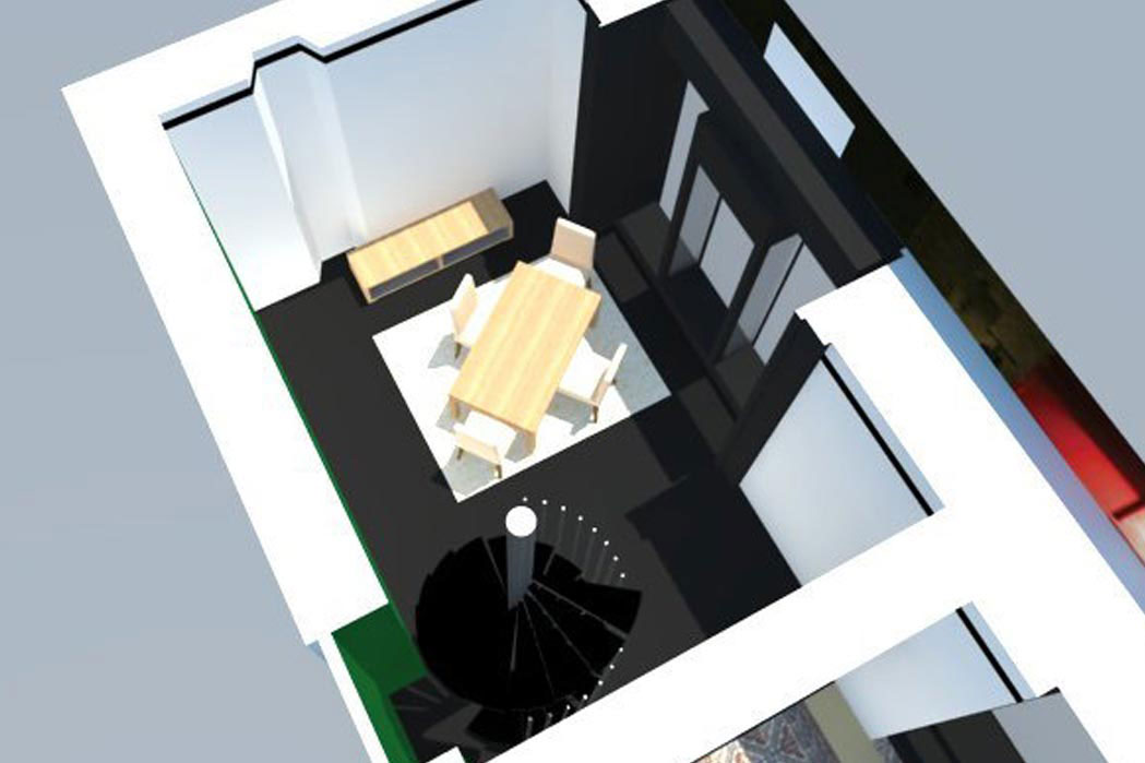 MS Architecture interieur Lyon - Plan 3d aménagement interieur du showroom de Mariane Sauzet Mis en Scène Interior Design